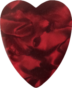 foil printed guitar picks- pearl red heart
