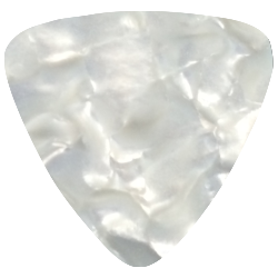 foil printed guitar picks- pearl white rounded triangle