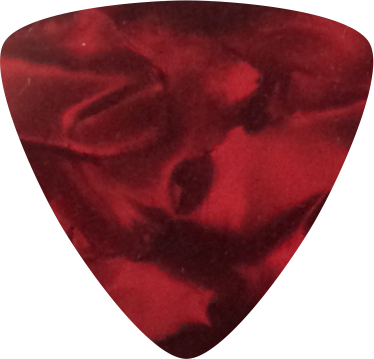 digitally printed guitar picks- Pearl Red Rounded Triangle